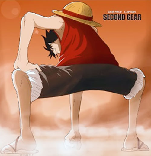 Monkey Luffy (One Piece) squatting with his fist against the ground