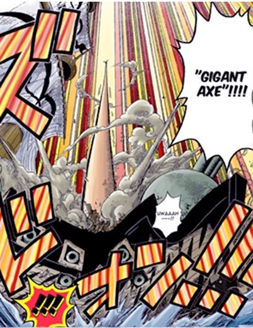 Monkey Luffy (One Piece) doing a gigant axe attack