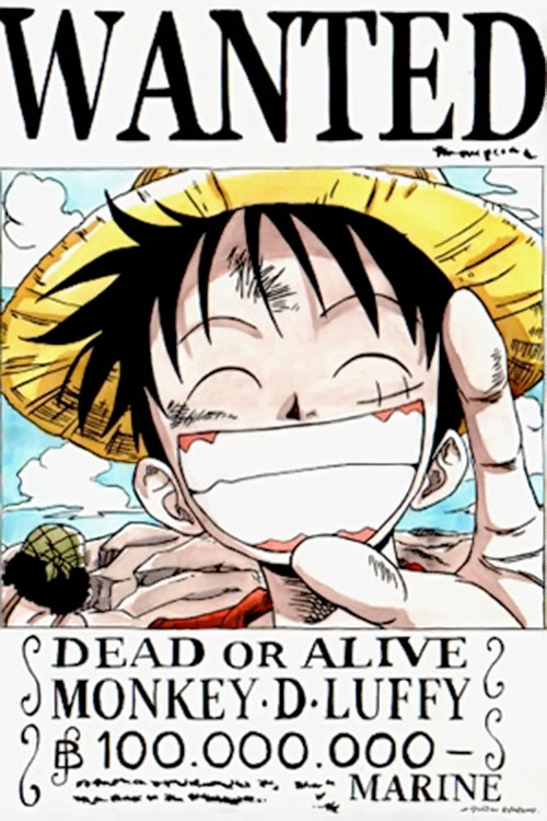 Monkey Luffy (One Piece) wanted poster