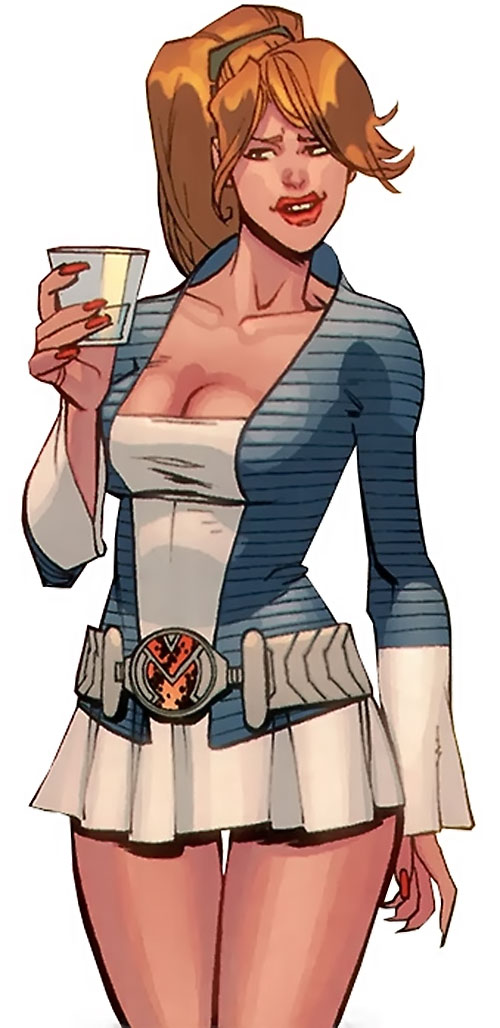 Monster Girl of the Guardians of the Globe (Invincible Comics) in human form, with a drink and a very short skirt
