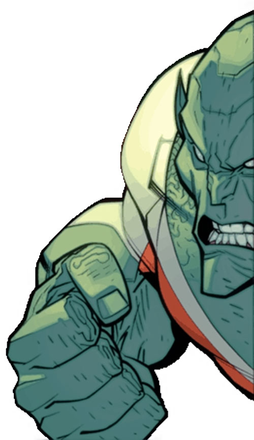 Monster Girl of the Guardians of the Globe (Invincible Comics) closeup on face and fist