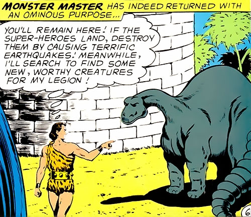 Monster Master (Legion of Super-Heroes enemy) (DC Comics) and an earthquake beast