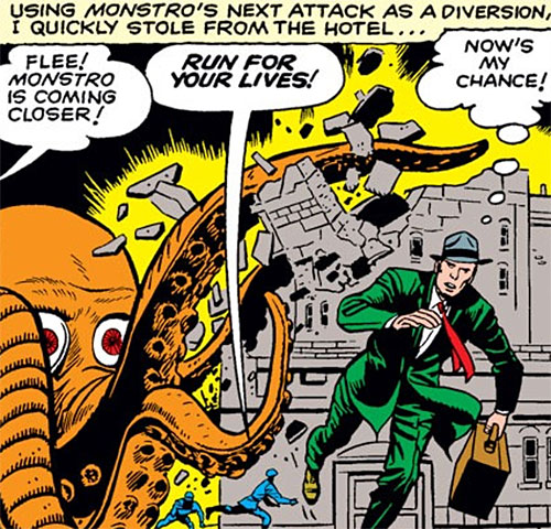 Monstro the giant octopus (Marvel Comics) smashes a building
