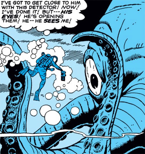 Monstro the giant octopus (Marvel Comics) facing a diver