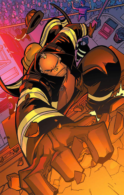 Monstro (Marvel Comics) in firefighter garb, climbing a building