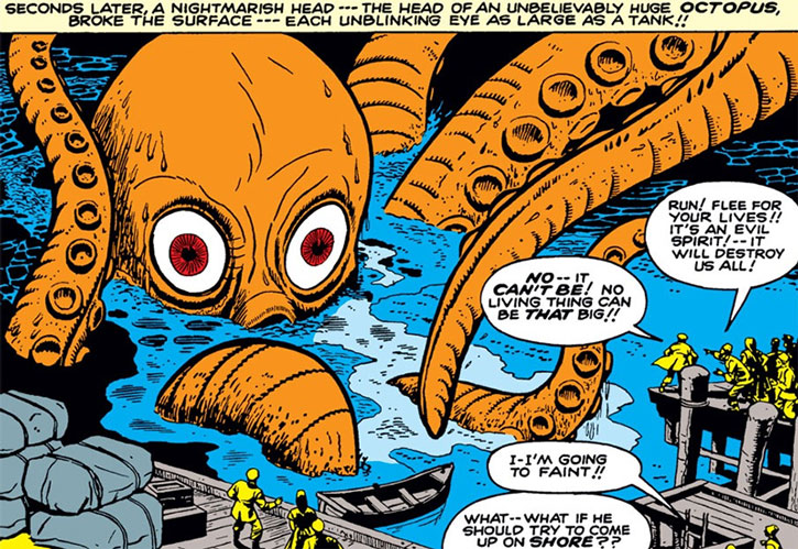Monstro ther giant octopus in a port