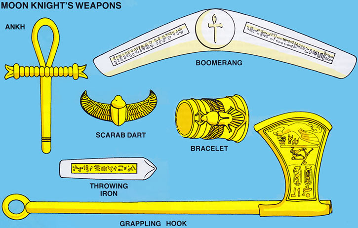 Moon Knight (Marvel Comics) - Weapons schematics from the 1985 handbook