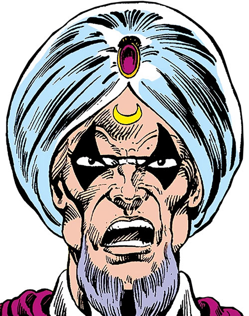 Moondark (Ghost Rider enemy) (Marvel Comics) face closeup with turban and mask
