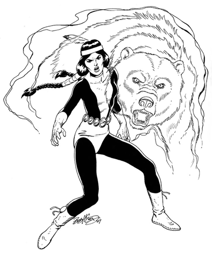 Moonstar and spirit bear, sketch by Bob McLeod
