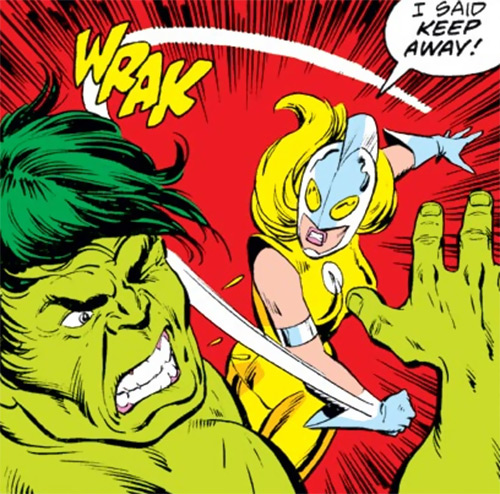 Moonstone (Avengers enemy classic) (Marvel Comics) punching the Hulk