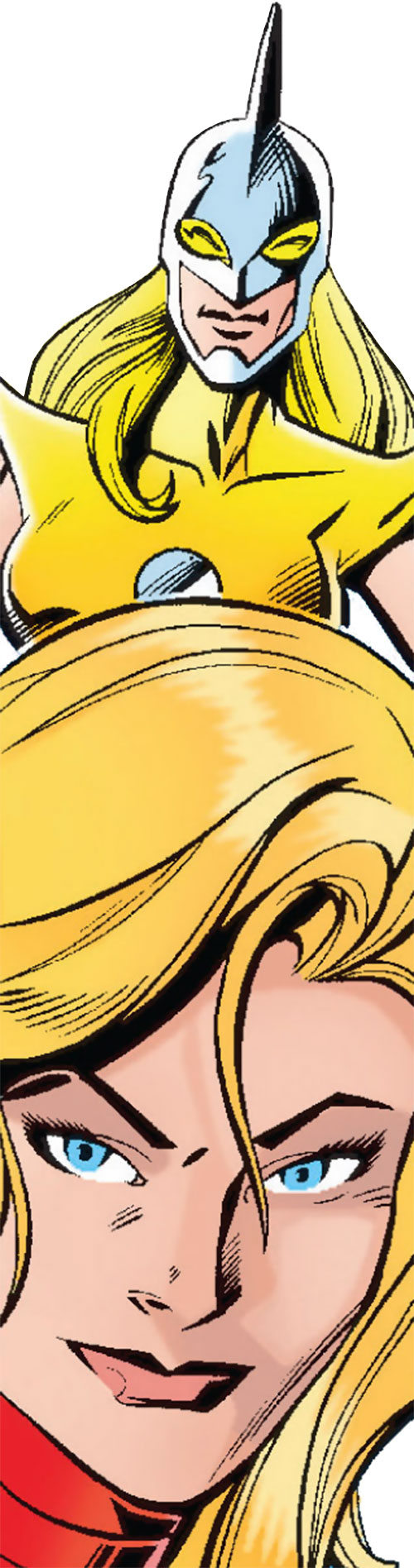 Moonstone / Meteorite of the Thunderbolts (Marvel Comics) face closeup with old Moonstone costume