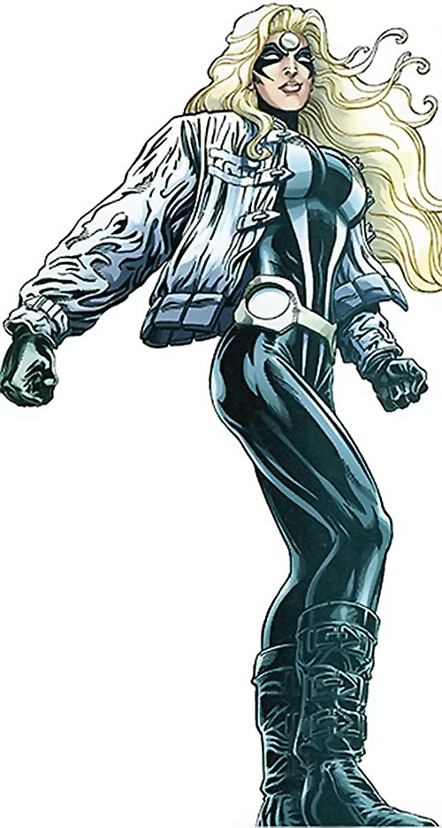 Moonstone / Meteorite of the Thunderbolts (Marvel Comics) black costume with white jacket, smirking