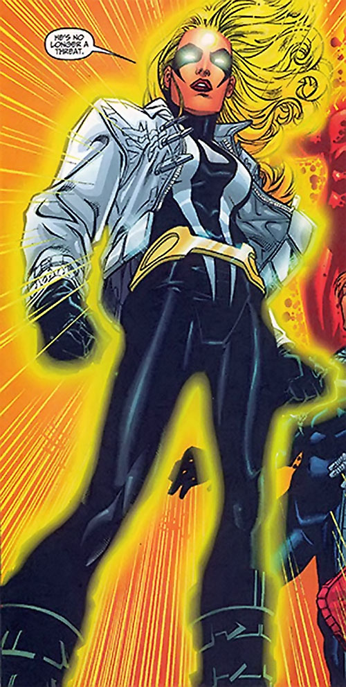 Moonstone / Meteorite of the Thunderbolts (Marvel Comics) black costume with white jacket, yellow aura