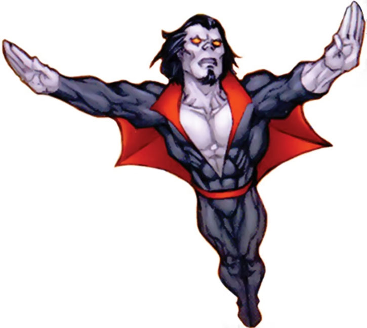 Classic Morbius flying over a white background