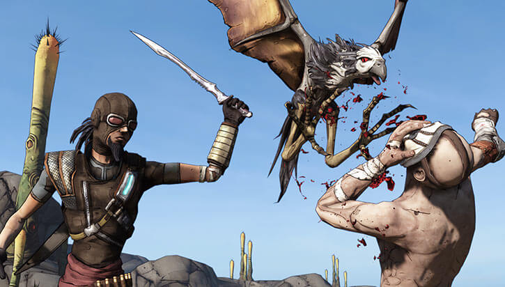Mordecai the hunter (Borderlands) with his sword and Bloodwing