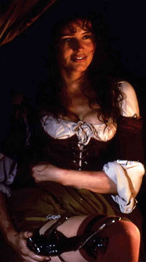 Morgan Adams (Geena Davis in Cutthroat Island) with a gun hidden along her thigh