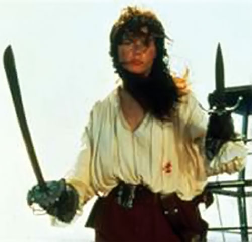 Morgan Adams (Geena Davis in Cutthroat Island) with cutlass and main gauche