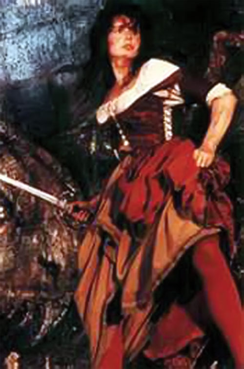 Morgan Adams (Geena Davis in Cutthroat Island) with a sabre
