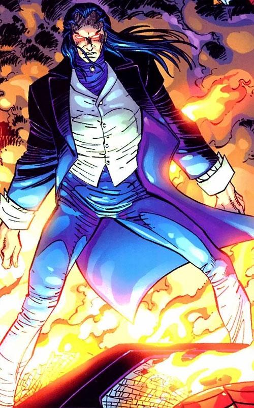 Morlun the devourer of totems (Spider-Man enemy) (Marvel Comics) stands on a burning car