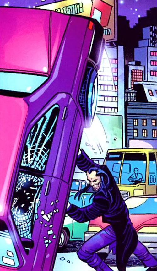 Morlun the devourer of totems (Spider-Man enemy) (Marvel Comics) using a car as a weapon