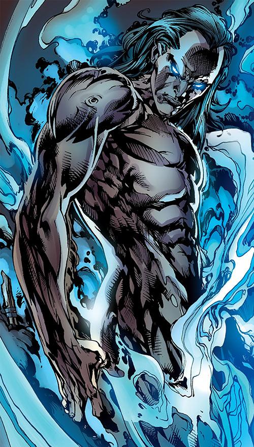 Morlun the devourer of totems (Spider-Man enemy) (Marvel Comics) naked in smoke
