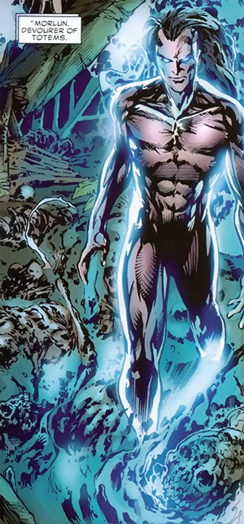 Morlun the devourer of totems (Spider-Man enemy) (Marvel Comics) draining people in a forest