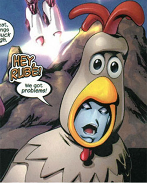 Morph of the Exiles (Marvel Comics) in a carnival chicken suit