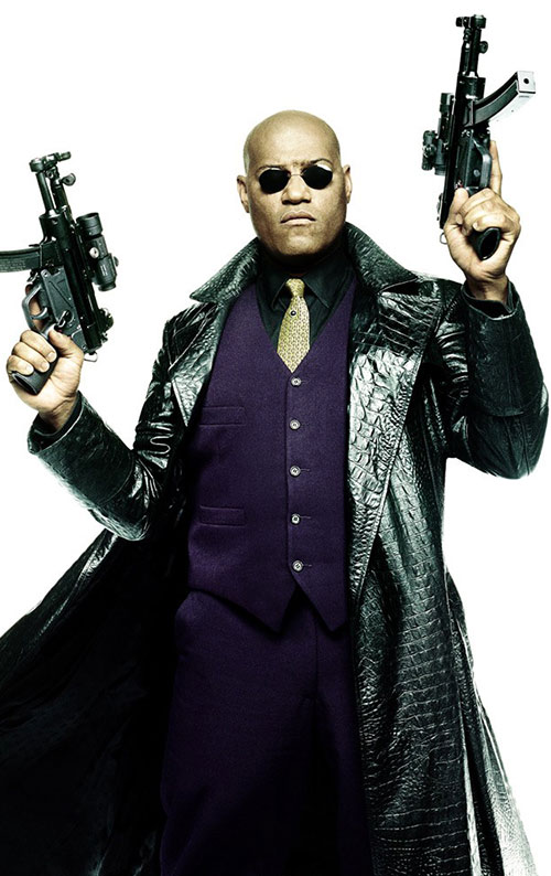 Morpheus (Laurence Fishburne) with paired machine pistols