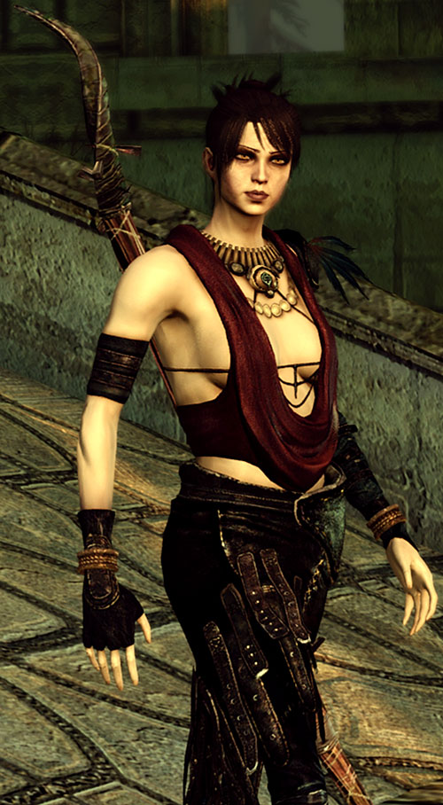 Morrigan (Dragon Age: Origins) walking down a ramp