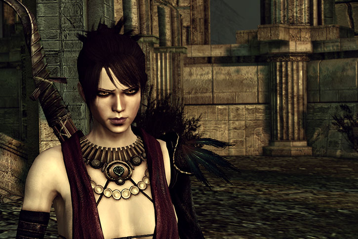 Morrigan looking grim and determined