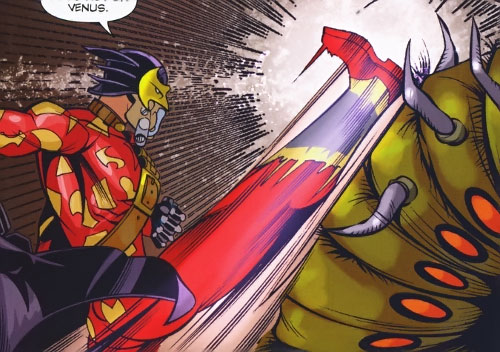 Most Excellent Superbat of the Super-Young Team (DC Comics) (Japan) kicks a giant worm