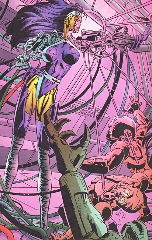 Mother-1 of Wetworks (Image Comics) using her powers on small robots