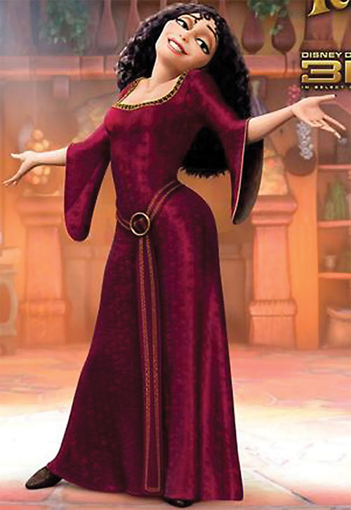 Mother Gothel (Disney's Tangled movie) in a red dress