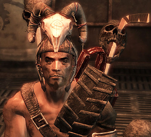 Motor-Runner of the Fiends (Fallout New Vegas) with a skull helm