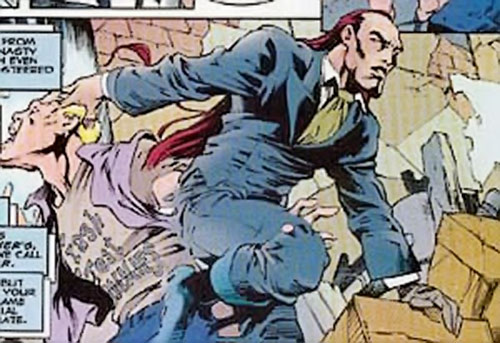 Mountjoy (Bishop enemy) (Marvel Comics) emerges from a man