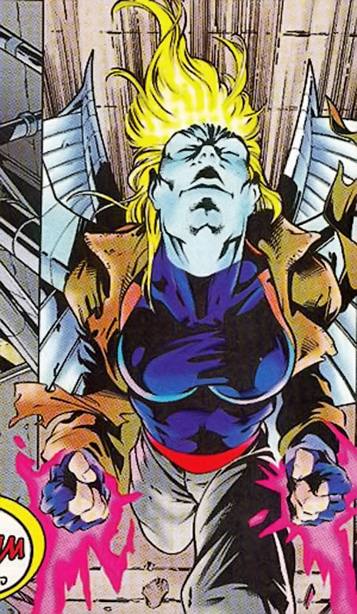 Mountjoy (Bishop enemy) (Marvel Comics) in a merged Angel/Psylocke body
