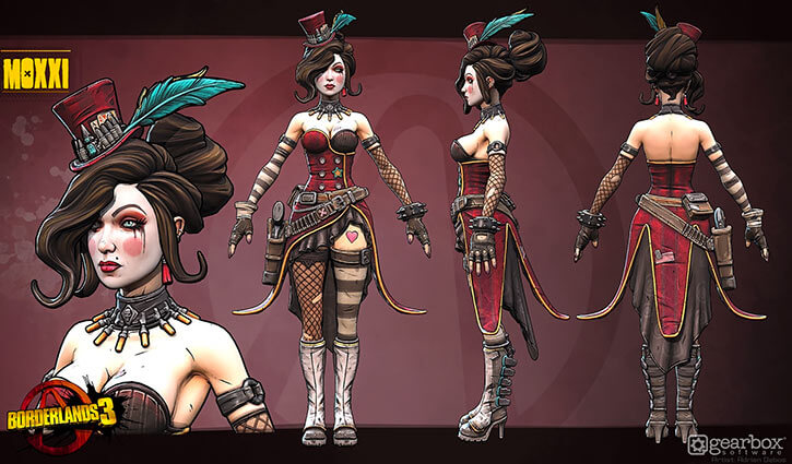 Mad Moxxi - Borderlands 3 game - Model Sheet by Adrien Debos