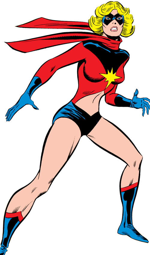 Ms. Marvel (Carol Danvers) during the 1970s, ready for battle
