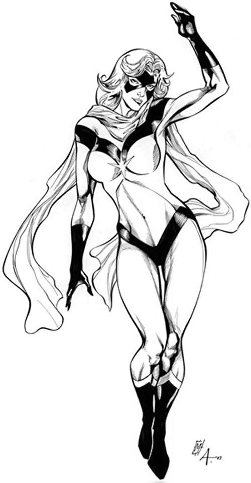 Ms. Marvel (Carol Danvers) during the 1970s, B&W sketch