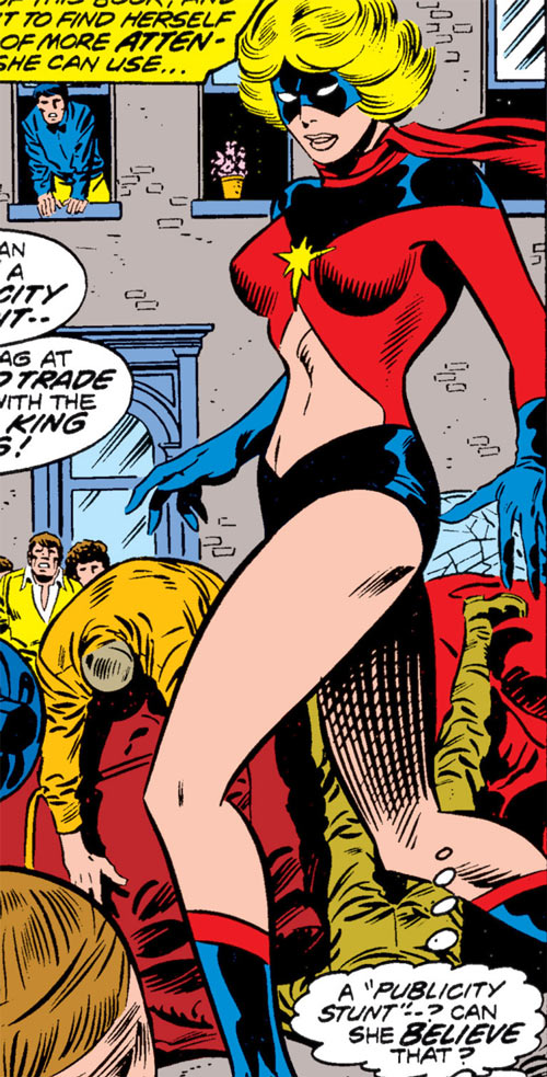 Ms. Marvel (Carol Danvers) during the 1970s, stopping robbers