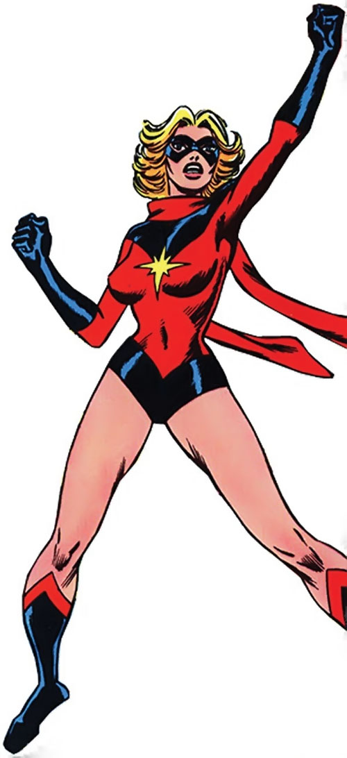 Ms. Marvel (Carol Danvers) during the 1970s, standing triumphant