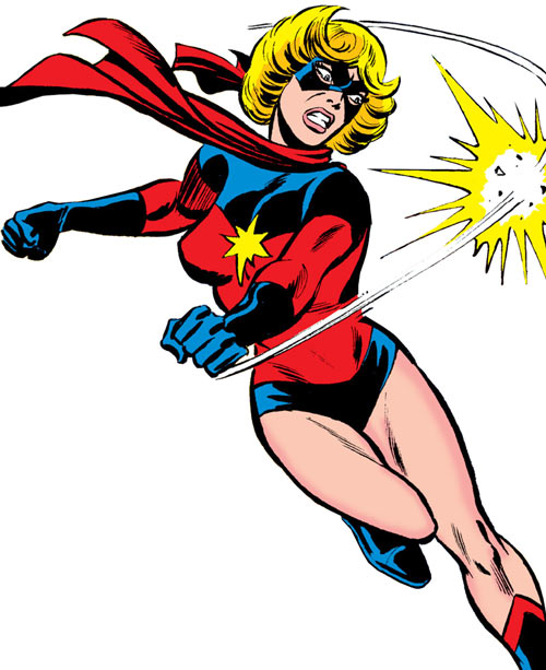 Ms. Marvel (Carol Danvers) during the 1970s, punching