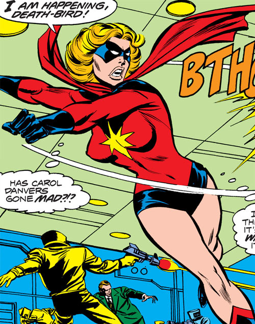 Ms. Marvel (Carol Danvers) during the 1970s, vs. AIM