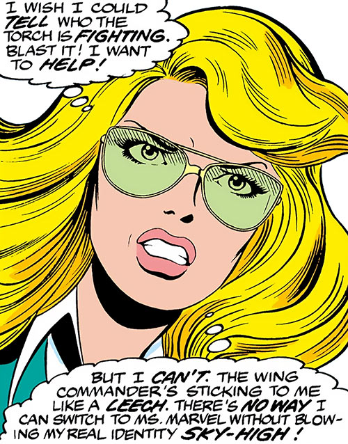 Ms. Marvel (Carol Danvers) during the 1970s with tinted glasses