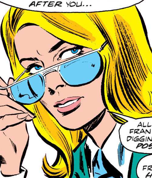 Carol Danvers during the 1970s, looking over her glasses