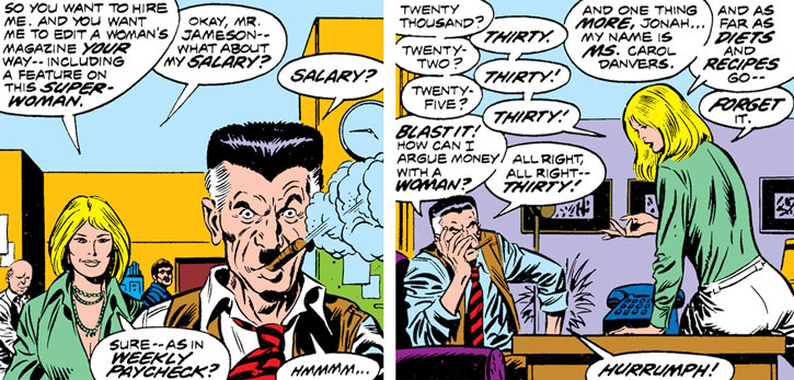 Ms. Marvel (Carol Danvers) negotiates with J. Jonah Jameson