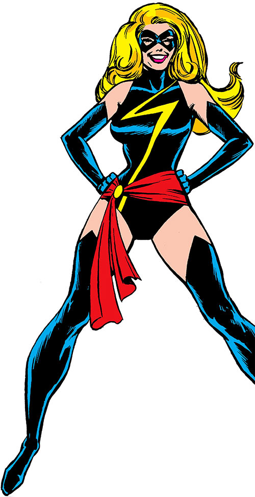Ms. Marvel comics (Carol Danvers), black costume, Dave Cockrum art for in-house ad