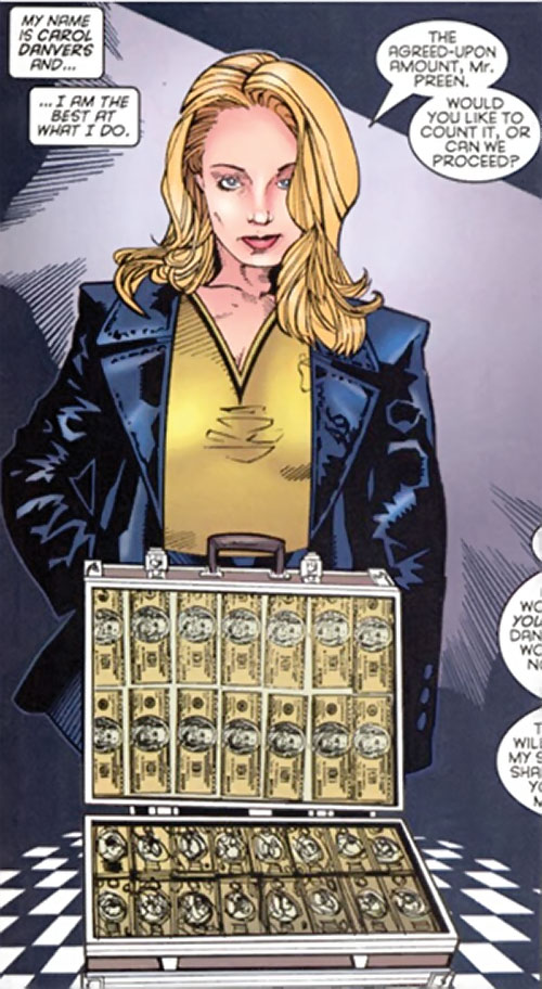 Carol Danvers (Earliest) (Marvel Comics) with a briefcase full of cash