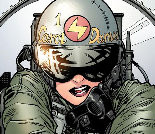 Carol Danvers (Earliest) (Marvel Comics) closeup pilot helmet cockpit