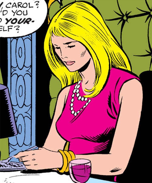 Carol Danvers (Marvel Comics) (Captain Marvel ally) in a pink dress at a dinner